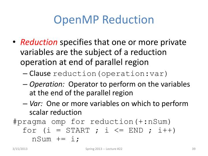 OpenMP Reduction
