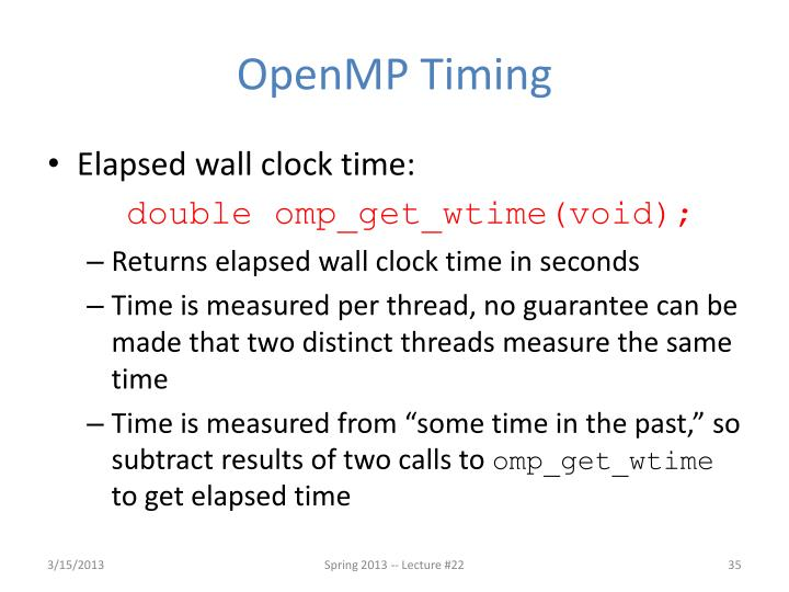 OpenMP Timing