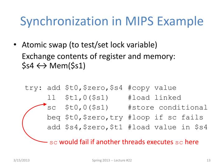 Synchronization in MIPS Example