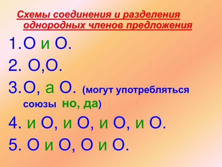 Схемы соединения и разделения однородных членов предложения