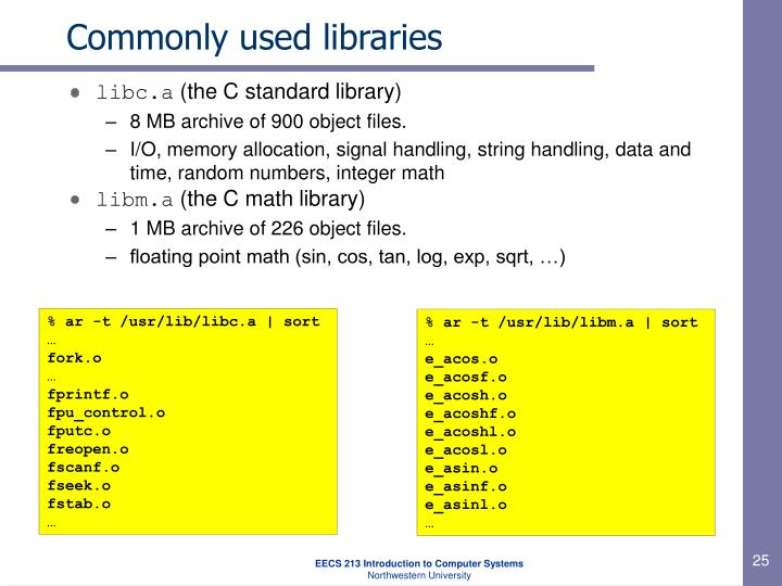 Commonly used libraries