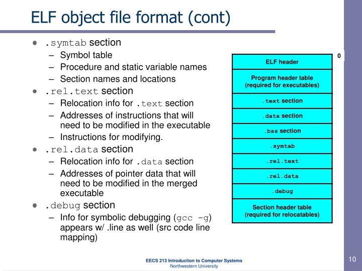 ELF object file format (cont)