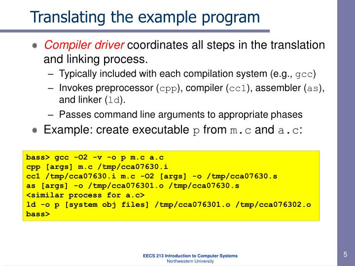 Translating the example program