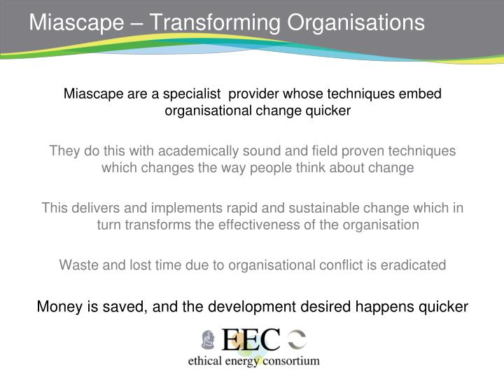 Miascape – Transforming Organisations