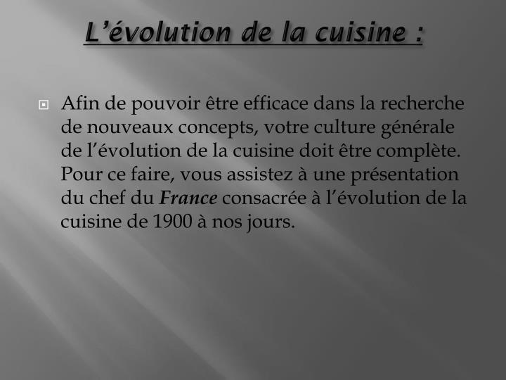 Lvolution de la cuisine: