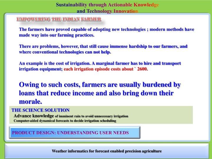 Sustainability through Actionable Knowledge