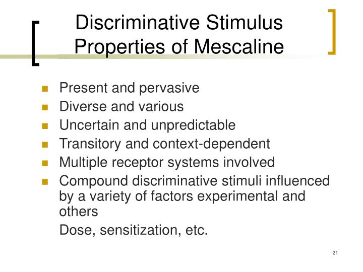 Discriminative Stimulus Properties of Mescaline