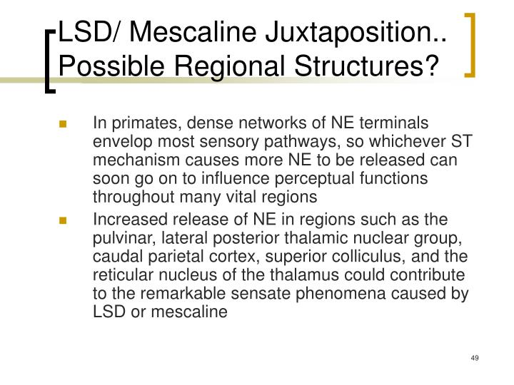 LSD/ Mescaline Juxtaposition.. Possible Regional Structures?