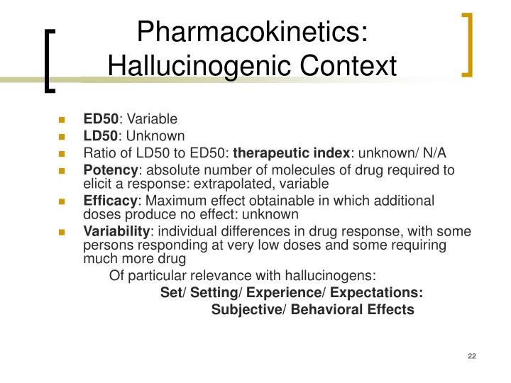 Pharmacokinetics: Hallucinogenic Context