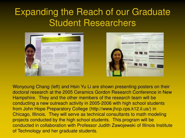 Expanding the reach of our graduate student researchers