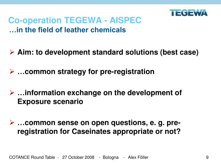 Co-operation TEGEWA - AISPEC
