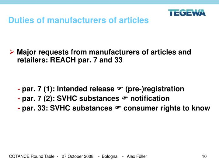 Duties of manufacturers of articles