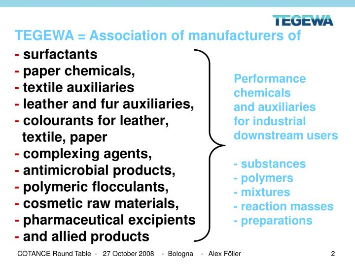 TEGEWA = Association of manufacturers of