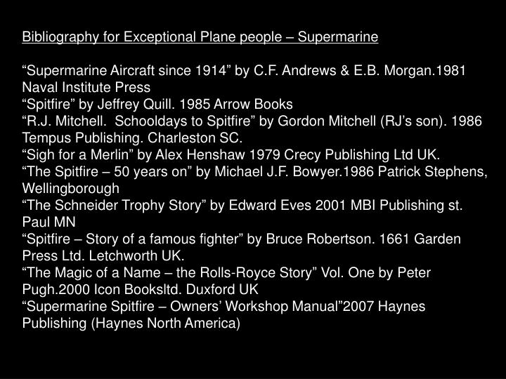 Bibliography for Exceptional Plane people – Supermarine