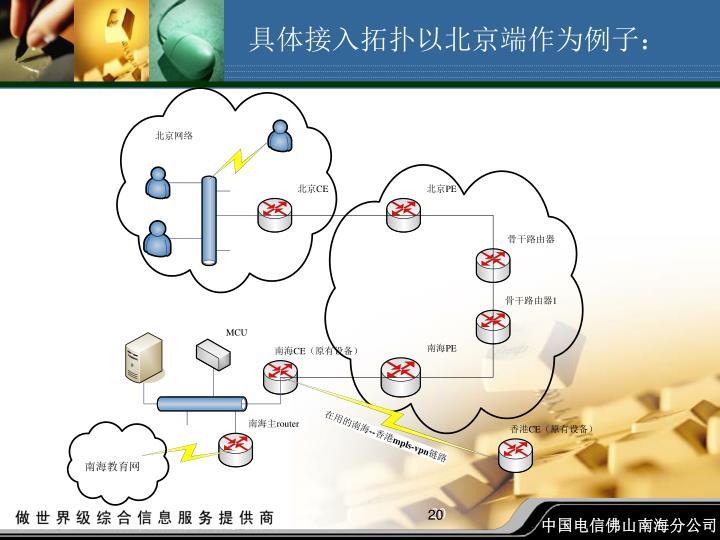具体接入拓扑以北京端作为例子: