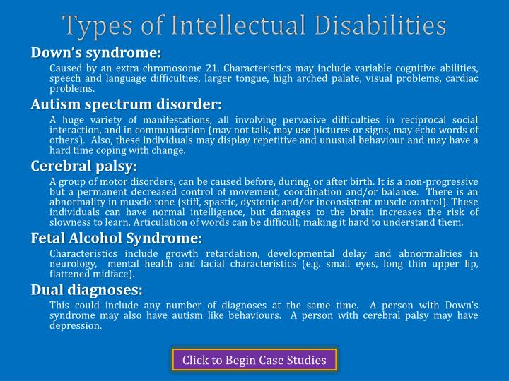 Types of intellectual disabilities
