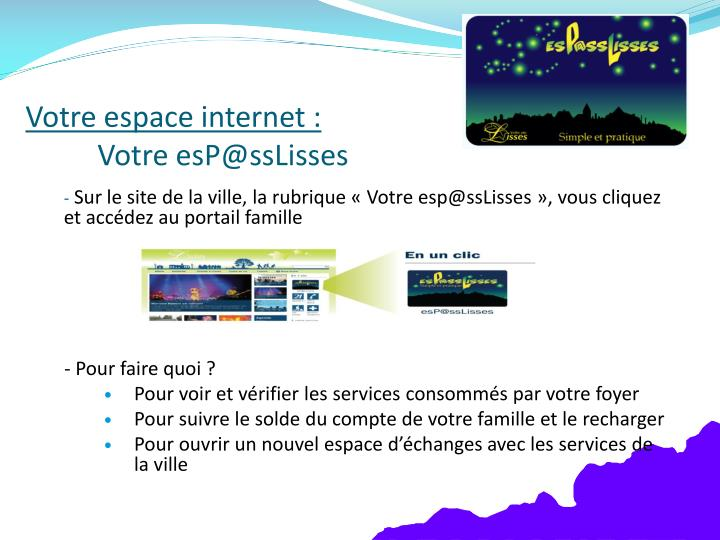 Votre espace internet :