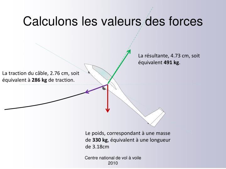 Calculons les valeurs des forces