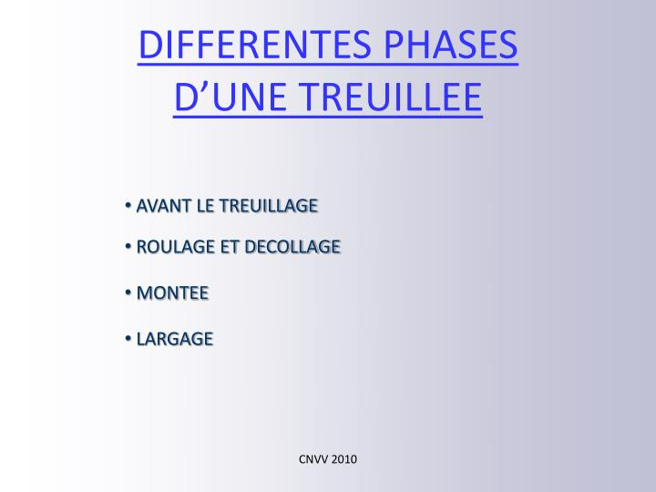 DIFFERENTES PHASES