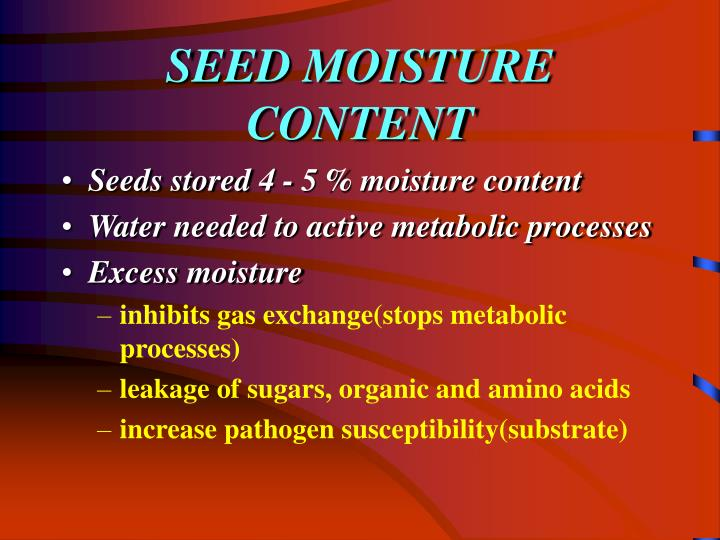 SEED MOISTURE CONTENT