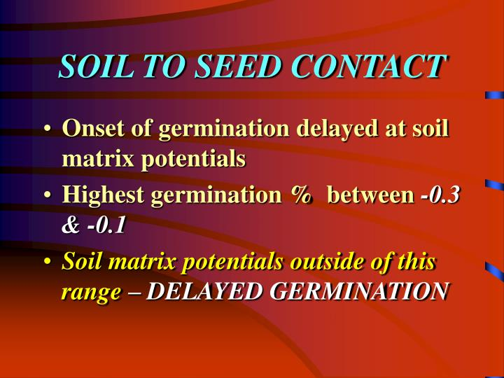 SOIL TO SEED CONTACT