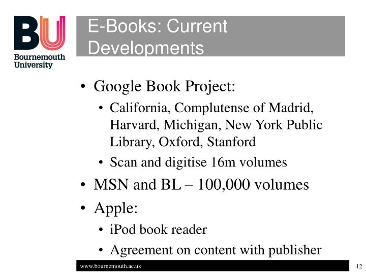 E-Books: Current Developments