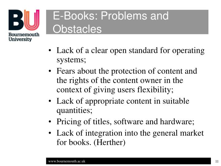 E-Books: Problems and Obstacles