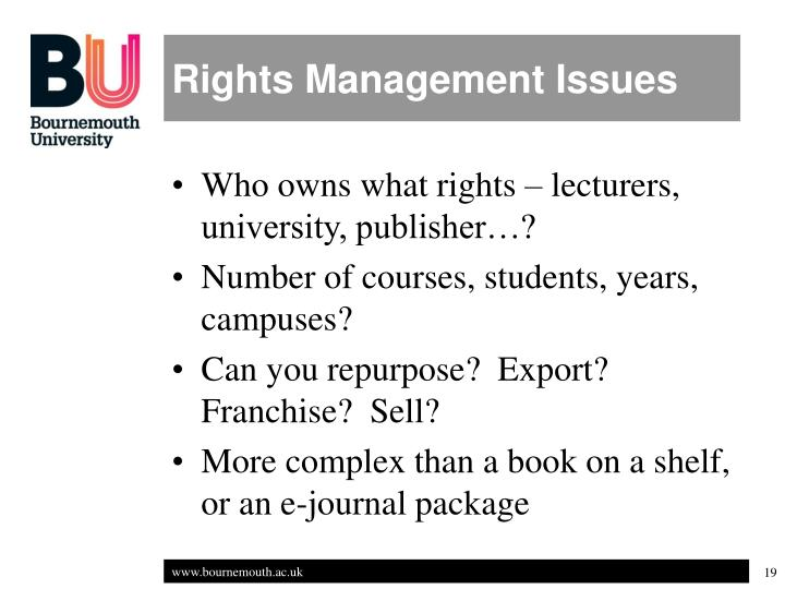 Rights Management Issues