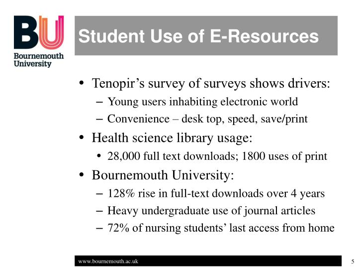 Student Use of E-Resources