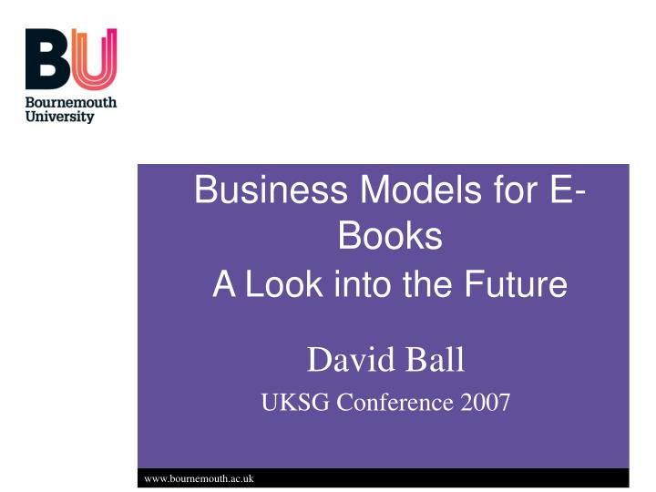 Business models for e books a look into the future