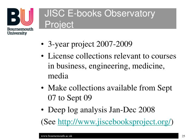 JISC E-books Observatory Project