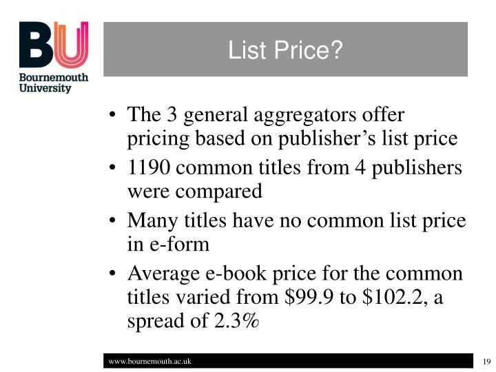 List Price?