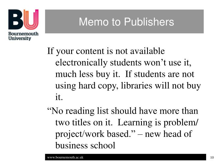 Memo to Publishers