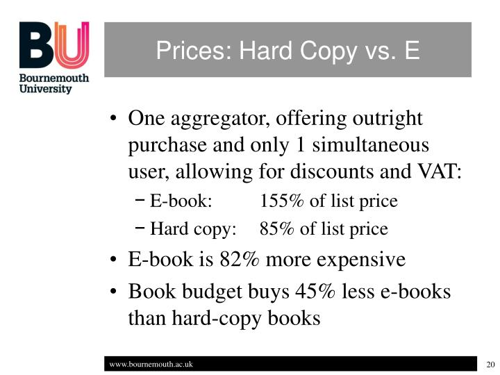 Prices: Hard Copy vs. E
