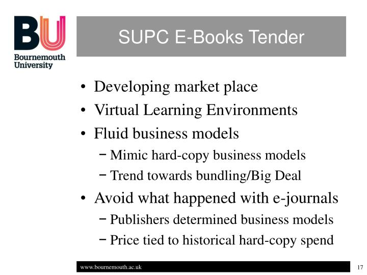 SUPC E-Books Tender