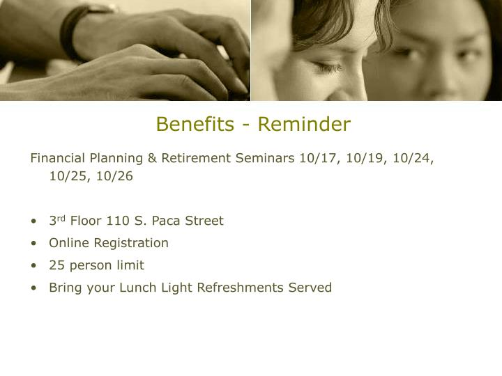 Benefits - Reminder