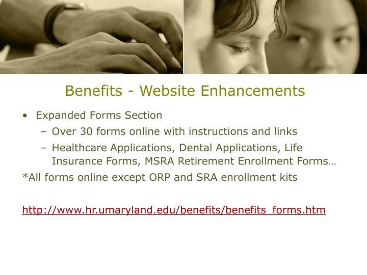 Benefits - Website Enhancements