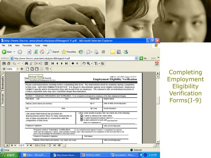 Completing  Employment Eligibility Verification Forms(I-9)