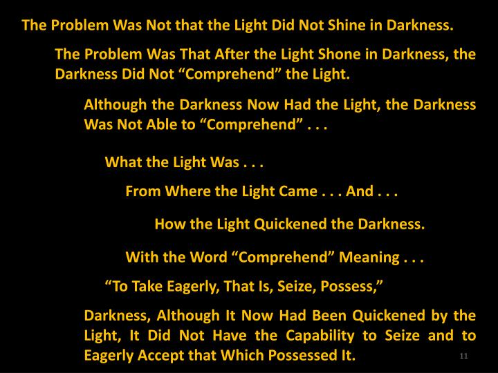 The Problem Was Not that the Light Did Not Shine in Darkness.