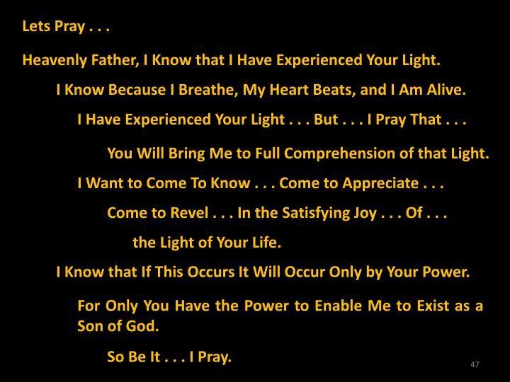 Lets Pray . . .