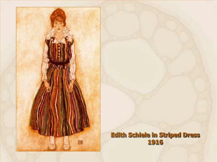 Edith Schiele in Striped Dress