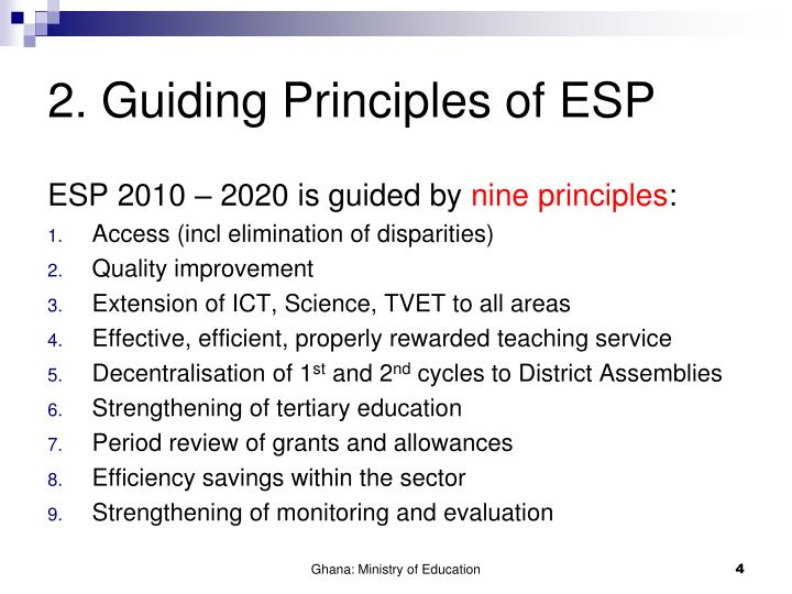 2. Guiding Principles of ESP