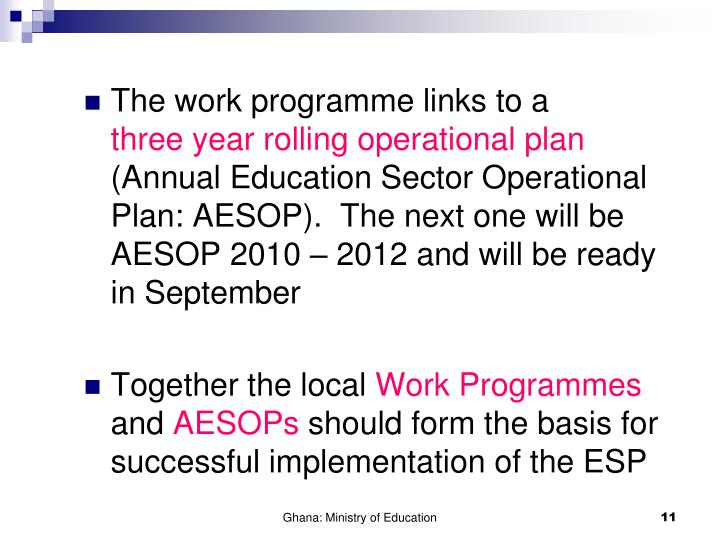 The work programme links to a