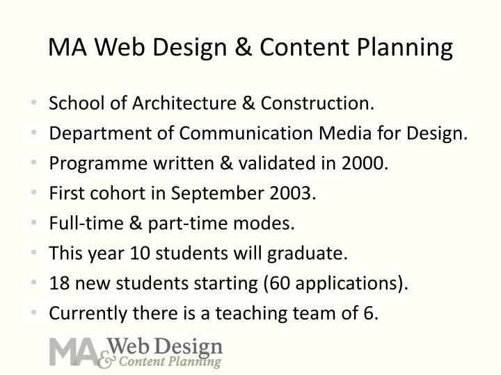 MA Web Design & Content Planning