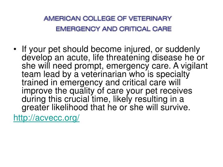 If your pet should become injured, or suddenly develop an acute, life threatening disease he or she will need prompt, emergency care. A vigilant team lead by a veterinarian who is specialty trained in emergency and critical care will improve the quality of care your pet receives during this crucial time, likely resulting in a greater likelihood that he or she will survive.