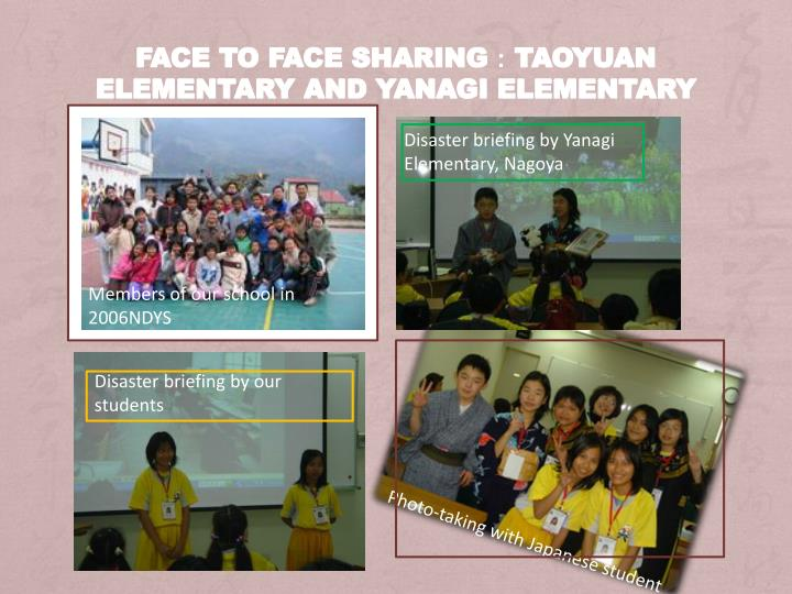 Face to face sharing:Taoyuan Elementary and Yanagi Elementary