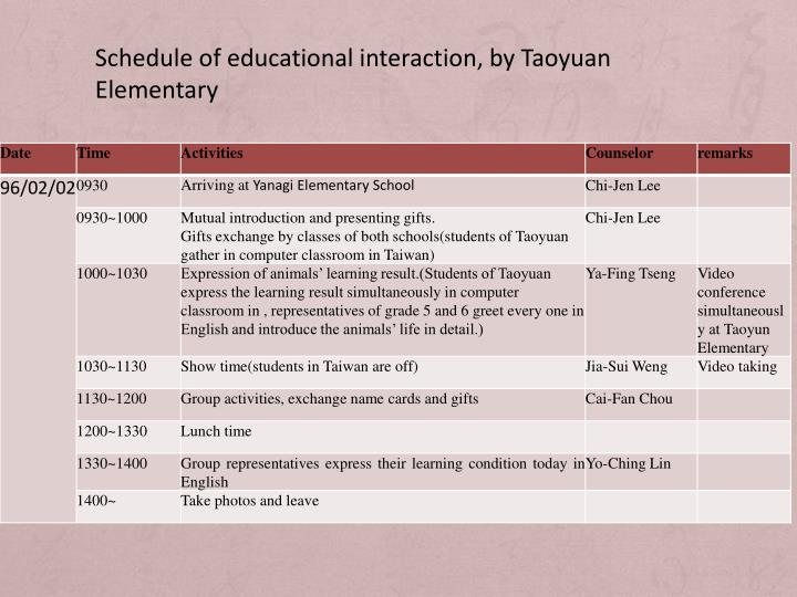 Schedule of educational interaction, by Taoyuan Elementary