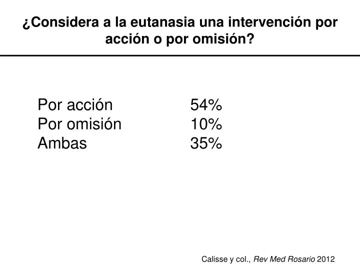 ¿Considera a la eutanasia una intervención por acción o por omisión?