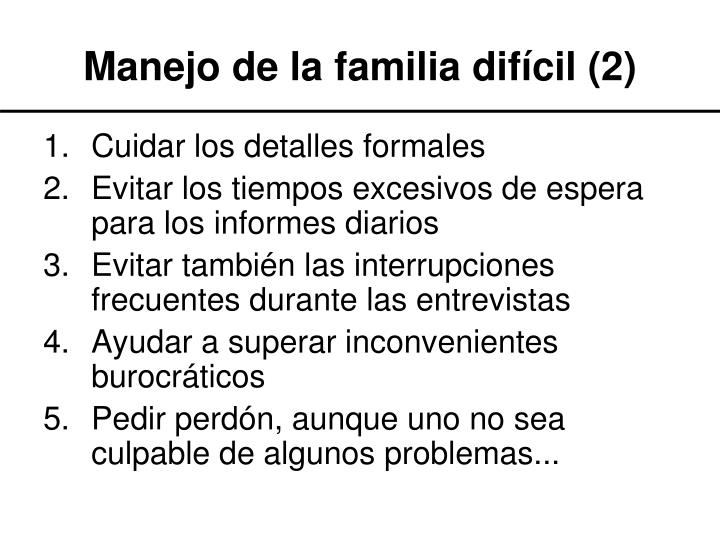 Manejo de la familia difícil (2)