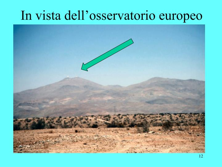 In vista dell'osservatorio europeo